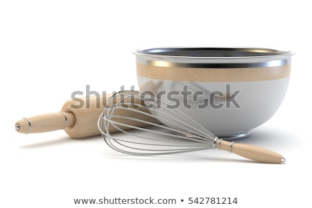 wire whisk wooden rolling pin and chrome bowl 3d stock photo © djmilic