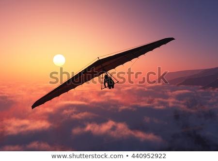 Motorized hang glider flying in the sunset Stock photo © smuki