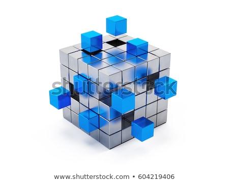 куб · белый · блоки · здании · строительство · фон - Сток-фото © cherezoff