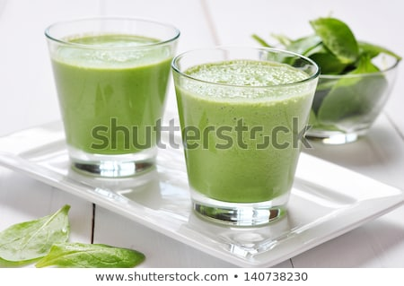 Zöld smoothie spenót üveg fából készült egészséges étel Stock fotó © Yatsenko