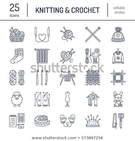knit crochet hand made line icons set knitting needle hook scarf socks pattern wool skeins a stock photo © nadiinko