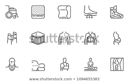 Orthopedic, trauma rehabilitation line icons. Crutches, orthopedics mattress pillow, cervical collar stock photo © Nadiinko