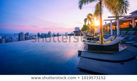 Marina hotel felső Szingapúr kék ég fehér Stock fotó © bezikus