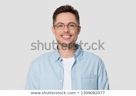 Funny mężczyzna nerd okulary wskazując kamery Zdjęcia stock © deandrobot