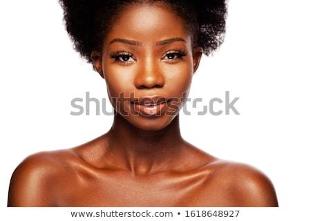 женщину · белый · рубашку · драматический · портрет · долго - Сток-фото © anna_om