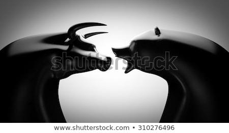 bull bear black and white stock photo © albund