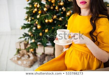 беременная женщина питьевой чай камин рождественская елка Сток-фото © Yatsenko