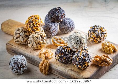 granola · cereales · a · rayas · placa · superficie - foto stock © lana_m