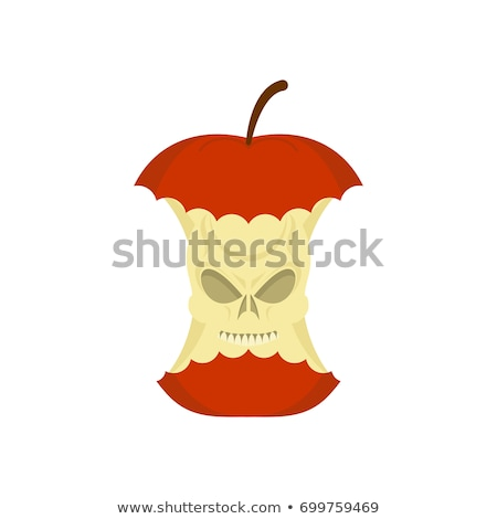 skull apple core isolated death rest of fruit on white backgrou stock photo © popaukropa