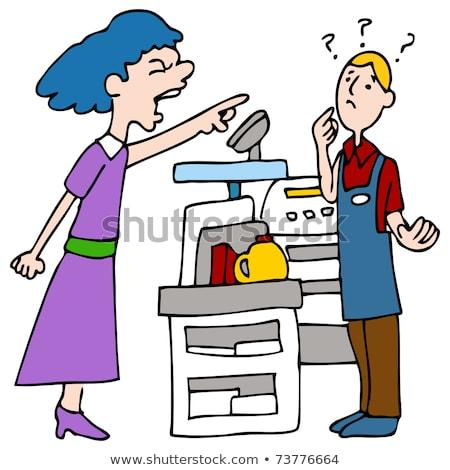 Stock photo: Angry Customer Yelling at Cashier