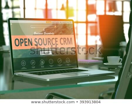 Laptop képernyő nyitva forrás crm modern Stock fotó © tashatuvango