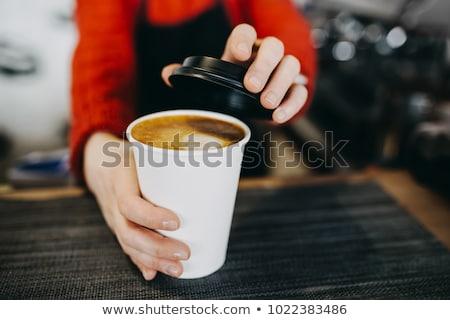 kép · nő · ül · kávézó · asztal · iszik - stock fotó © deandrobot