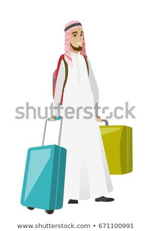 Jonge moslim man reiziger veel koffers Stockfoto © RAStudio