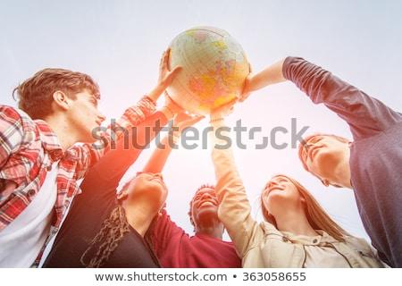 Portre erkek dünya adam işadamı gezegen Stok fotoğraf © IS2