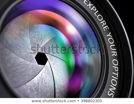 Czarny aparat cyfrowy obiektyw strategii kamery Zdjęcia stock © tashatuvango