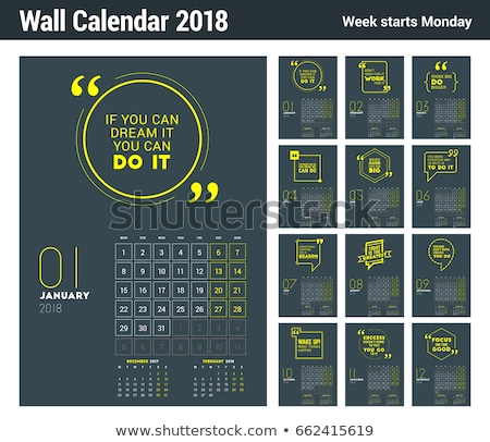 Foto stock: 2018 Year Wall Calendar Grid Template