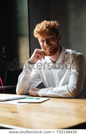 Jovem feliz barbudo homem branco camisas Foto stock © deandrobot