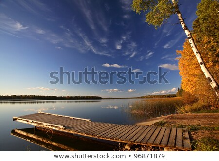 boat dock on a saskatchewan lake stock photo © pictureguy
