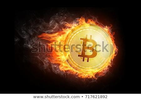 Bitcoin wydobycie kółko ikona stylu długo Zdjęcia stock © Anna_leni