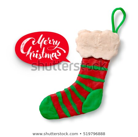 Hand cijfer christmas sok vector schaduw Stockfoto © Sonya_illustrations