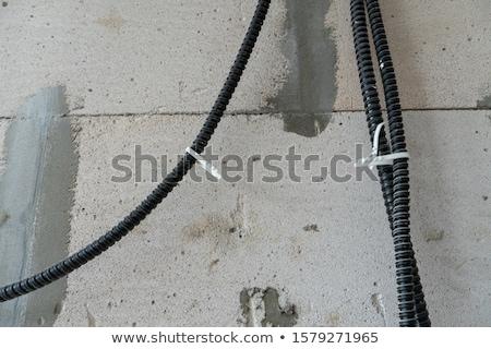 fal · foglalat · kék · szoba · elektromos · dugó - stock fotó © is2
