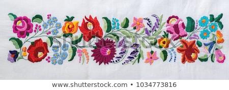 magyar · hímzés · virágmintás · izolált · fehér · levél - stock fotó © CsDeli