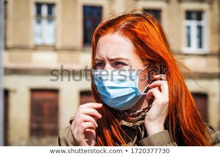 Influenza donna cartoon accappatoio guardando malati Foto d'archivio © blamb
