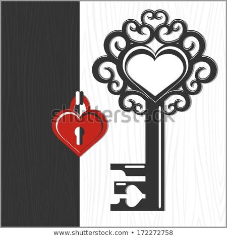 Amor clave corazón amado rojo forma de corazón Foto stock © orensila
