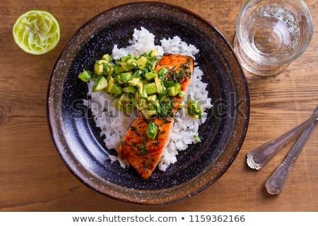 Salmón Asia almuerzo comida saludable tazón Foto stock © M-studio