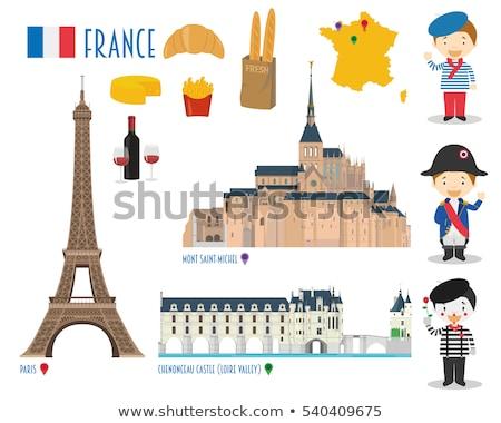 Simgeler semboller Fransa Eyfel Kulesi harita ülke Stok fotoğraf © popaukropa