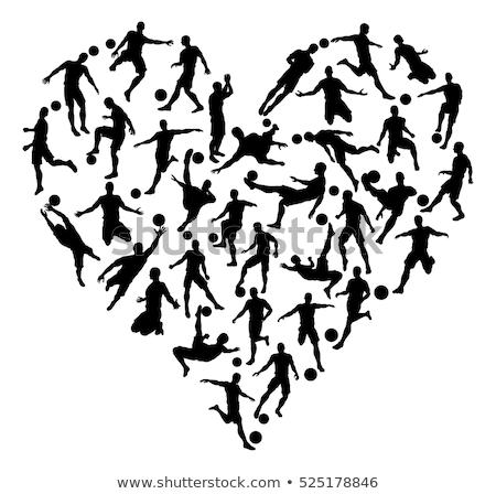 Silhouettes Soccer Heart Stock photo © Krisdog