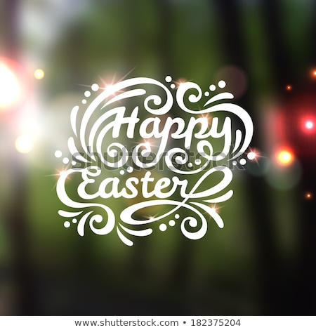 happy easter typographical blurred background vector stock photo © ikopylov