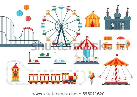 Parco di divertimenti infografica isometrica elementi ragazzi giostra Foto d'archivio © studioworkstock