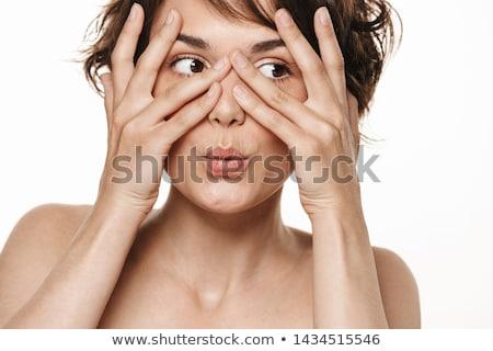 Piękna portret zdrowych półnagi kobieta krótki Zdjęcia stock © deandrobot