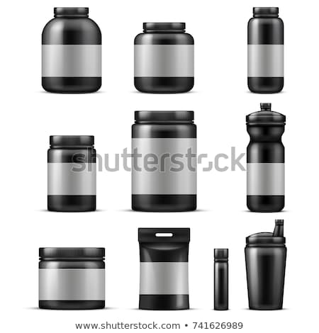 Container for sports nutrition black plastic. Vector illustratio Stock photo © popaukropa