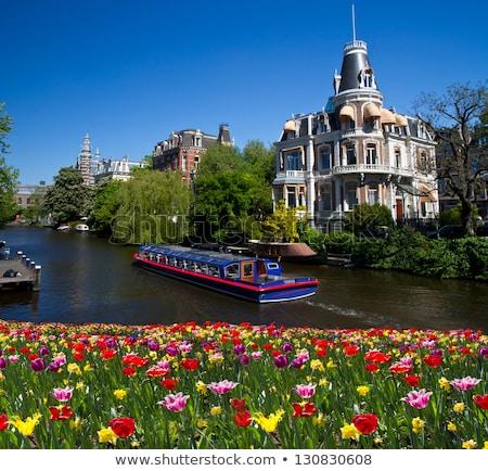 Amsterdam · batı · yan · akşam · karanlığı · su · Bina - stok fotoğraf © neirfy