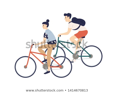 Man fiets portret fitness glimlachend pad Stockfoto © IS2