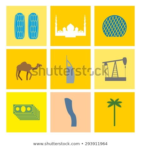 UAE symbol  icons set. Camels and oil pumps. Palm trees and skys Stock photo © popaukropa