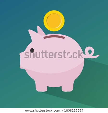 Cryptocurrency HODL concept, Pig money box icon with falling bitcoin, hodl bitcoin, vector illustrat Stock photo © ikopylov