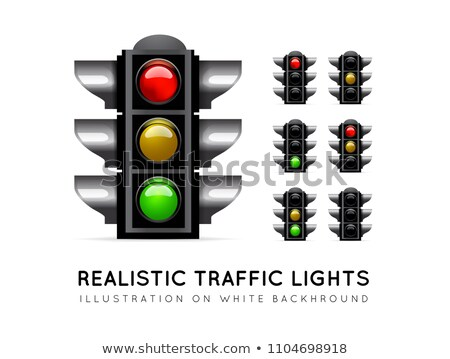 Realistic traffic light on a white background, in various color variations. Stoplight vector Stock photo © m_pavlov