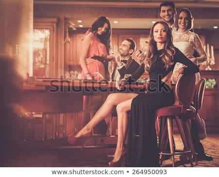 Gyönyörű hölgy szerencsés kerék illusztráció pénz Stock fotó © bluering