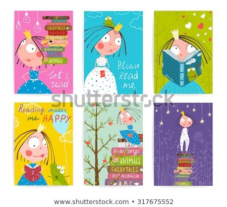 Gyerekek könyvtár poszter olvas jókedv illusztráció Stock fotó © lenm