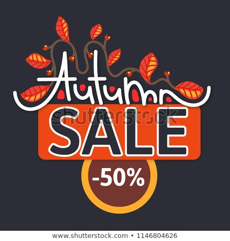 Autumn sale. Discount in fall. Branch with colorful leaves. Cute creative hand drawn lettering. Red  stock photo © user_10144511