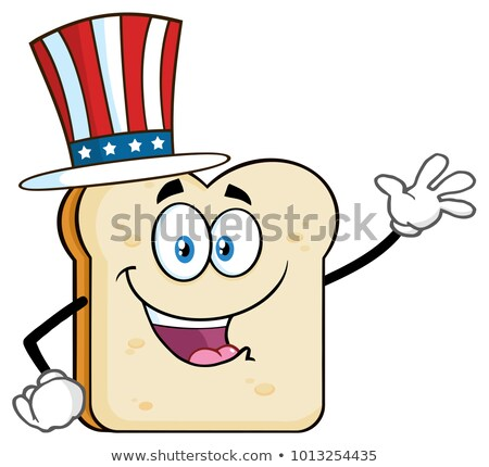 American Bread Slice Cartoon Character Waving For Greeting Stock photo © hittoon