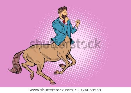 pop art Businessman centaur ready to fight Stock photo © studiostoks