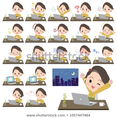 Kimonó citromsárga nő betegség szett különböző Stock fotó © toyotoyo