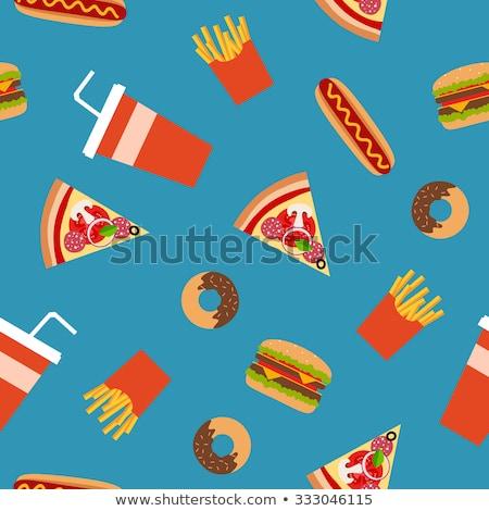 Foto stock: Fast-food · doce · ícone · estilo · sem · costura · vetor