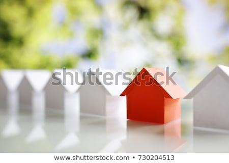 ingatlanügynök · dolgozik · boldog · eps · akta · család - stock fotó © chocolatebrandy