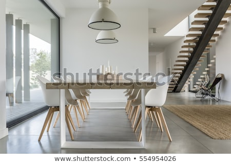stylish interior in modern style with wooden stair stock photo © bezikus