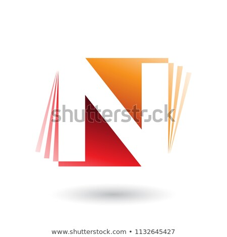 Red and Orange Letter N with Vertical Stripes Vector Illustratio Stock photo © cidepix